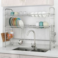 Dish Rack Double Slot Stainless Steel Dry Shelf Kitchen Cutlery Holder – Home living color wall treatment kitchen design Kitchen Cutlery, Kitchen Rack, Kitchen Dishes, Kitchen Storage, Kitchen Pantry, Kitchen Cabinets, Dish Storage, Storage Area, Storage Bins