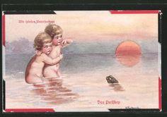 Artiste-AK-wally-Fialkowska-enfants-jouent-sous-marin-grenouille-est-un-periscope