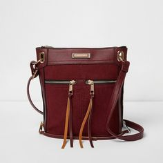 River Island Dark red cross body messenger bag ($24) ❤ liked on Polyvore featuring bags, messenger bags, bags & purses, red, sale, women, river island bags, red cross body bag, courier bag and zip top crossbody bag