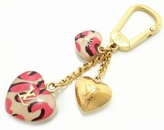 Louis Vuitton Auth M66263 Porte Clef Leopard Bron Corail Bag Charm Mint #0633 #LouisVuitton