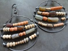 Old African glass spit bead earrings by pipnmolly on Etsy