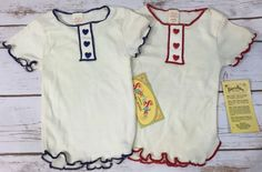 Lot of 2 Vintage Little Girls Short Sleeve Shirts 1970s Heart Buttons Fits 3T #SugarnSpice #Casual