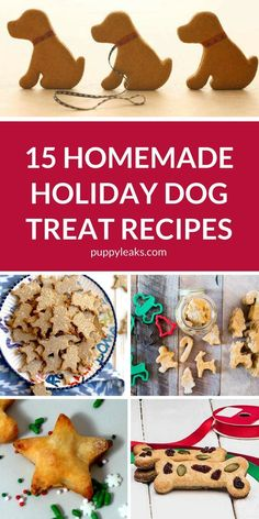 Homemade Dog Food 15 Homemade Holiday Dog Treat Recipes - Looking for an easy gift to make for your dog this holiday season? Make them one of these homemade holiday dog treat recipes. Puppy Treats, Diy Dog Treats, Healthy Dog Treats, Dog Biscuit Recipes, Dog Treat Recipes, Dog Food Recipes, Doggy Treats Recipe, Food Dog, Puppy Food