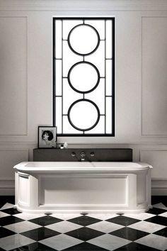See all our stylish bathroom design ideas. Art Deco inspired black and white design. #artdeco