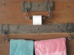 horseshoe towel rack | Horse Shoe usable art by Rod Miller