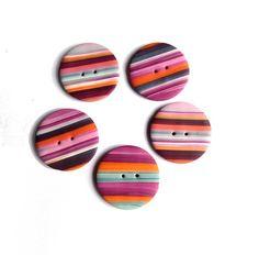 BOHO Polymer clay handmade buttons 3 cm random stripes Bohemian Boutons Fimo rayures set 5 pces - purple pink orange blue turquoise stripes on Etsy, $9.96