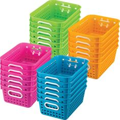 Fun neon colored Medium Rectangle Book Baskets are great for organizing and color coding the classroom library.