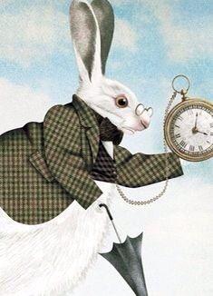 Alice in Wonderland's White Rabbit character illustration via www.Facebook.com/HattersParty