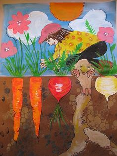 Pamela Holderman: how does your garden grow? book about the large radish and folktales Kindergarten Art, Preschool Art, Spring Art Projects, 2nd Grade Art, Art Lessons Elementary, Art Lesson Plans, Art Classroom, Summer Art, Art Plastique