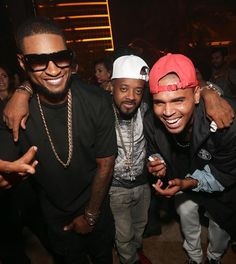 Usher, Jermaine Dupri, Chris Brown at XS Nightclub on Fri Sept 19, 2014