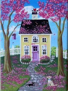 Petal Pink Frosting Folk Art Print