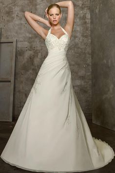 Wholesale Embroidery Empire Waist Princess  Halter Wedding Gowns