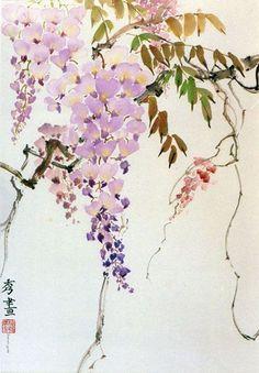 lovely! #japanese #flowers #illustration Watercolor Brushes, Watercolor Flowers, Watercolor Paintings, Art Asiatique, Japan Painting, Bonsai Art, Chinese Brush, Japanese Art, Japanese Flowers