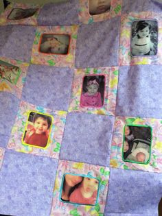 Handmade quilt top with pictures and embroidery frame