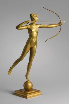 Diana, 1893–94; this cast, 1894 or after Augustus Saint-Gaudens (American, 1848–1907) Bronze Designed as a weathervane for the tower of Madison Square Garden in 1891, Diana was the first monumental work from which Saint-Gaudens produced reductions. In 1892–93, he remodeled his original Diana, which at 18 feet high was too large in proportion to the tower, into a 13-foot-high sculpture (now at the Philadelphia Museum of Art).