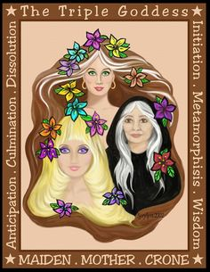 Maiden, Mother and Crone Wiccan Witch, Magick, Witchcraft, Wiccan Art, Maiden Mother Crone, Mother Goddess, Tarot, Triple Moon Goddess, Greek Gods And Goddesses