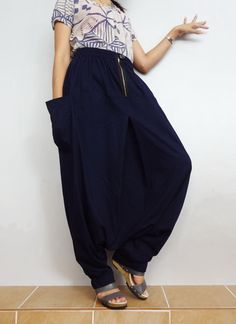Navy Blue In Drop crotch with Zipper long trouser,Unisex harem baggy unique…                                                                                                                                                                                 More