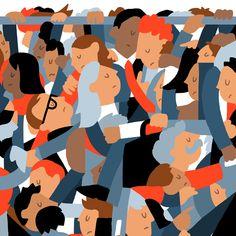 Rush Hour by James Gibbs Train Illustration, People Illustration, Graphic Illustration, Henri Rousseau, Tame Impala, Political Art, Epic Art, Rush Hour, Today Show