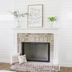 latest pictures fireplace brick tips work Stunning 7 brick fireplace mantle desi… – farmhouse fireplace tile Fireplace Mantle Designs, Brick Fireplace Mantles, White Wash Brick Fireplace, Brick Fireplace Makeover, Small Fireplace, Farmhouse Fireplace, Fireplace Surrounds, Brick Fireplace Remodel, Fireplace Decorations