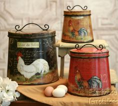 COTTAGE-ROOSTER-CANISTER-SET-Shabby-FRENCH-COUNTRY-Chic-TIN-Tuscan-KITCHEN-Decor