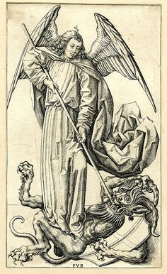 the archangel standing on top of a devil, piercing him with a lance; the demon holds onto a shield Engraving © The Trustees of the British Museum Michael Angel, Archangel Michael, St Michael, Vs Angels, Angels And Demons, Eliphas Levi, Dark Artwork, Engraving Illustration, Mont Saint Michel