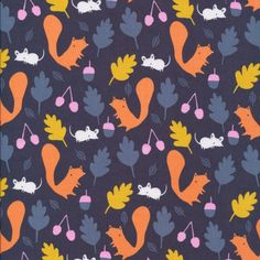 141112 Woodland Critters | Navy Quilter's Cotton from Sweet Autumn Day by little cube for Cloud9 Fabrics