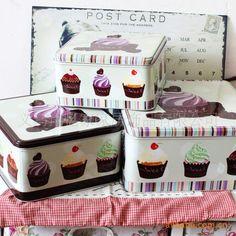 Furnishings chocolate ice cream tin set storage box $12.13