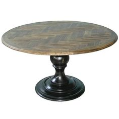 "54"" Round Pedestal Table with Herringbone Top available through StagingAndDesignNetwork.com"