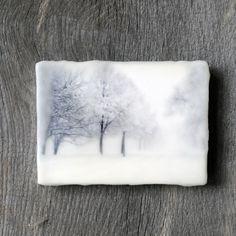 Original encaustic wall art. Encaustic Minnesota Winter Photography. Winter landscape. Snow. Blizzard. 5x7