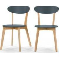 2 x Fjord Dining Chairs, Oak and Blue  £99.00 | Made