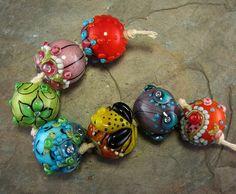 Bollywood Chunkies Yashila Lampwork Bead Set by flamekeeper, $85.00