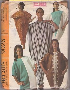 McCall's 9026 Vintage 60's Sewing Pattern TOTALLY PSYCHEDELIC Hippie Goddess Easy Contrast Caftan, Abba, Triangular Muu Muu Maxi Gown #MOMSPatterns