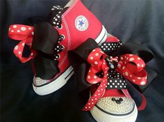Swarovski Red Mickey Mouse Converse Chuck Taylor All star custom shoes with Bows. $75.00, via Etsy.