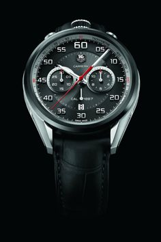 """Discover everything about the Carrera """"Dashboard"""" Calibre 1887 Chronograph by TAG Heuer on Chronollection: http://www.chronollection.com/three-chronographs-monaco-grand-prix-n247821.htm #watches #watch #wiwt #watchporn #watchmaking #tagheuer #monaco"""