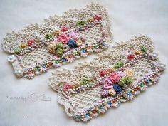 Crochet cuff bracelets A Pair of cuffs Beaded bracelet Textile Jewelry, Fabric Jewelry, Jewellery, Crochet Flowers, Crochet Lace, Crochet Bracelet, Wrist Warmers, Crochet Accessories, Jewelry Patterns
