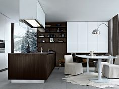 Lacquered Wooden Kitchen with Island TWELVE by Varenna by Poliform   Design Carlo Colombo (2009)