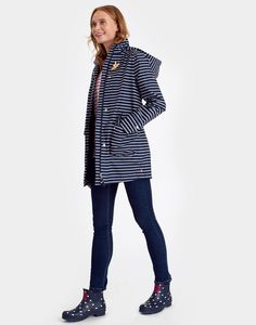 Haven Amelie Navy Stripe Waterproof Jacket , Size US 6 | Joules US