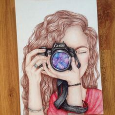 Girl with a camera part 3!📷☄ I drew this 2x in 2014, and now I decided to do it again! 🎉 👉🏻comment what you think😘👇🏻