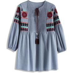 Chicwish Idyllic Doll Boho Top (115 BRL) ❤ liked on Polyvore featuring tops, blue, boho chic tops, baby doll tops, boho tops, babydoll tops and blue top