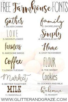 Free Farmhouse Fonts - Glitter and Graze Fancy Fonts, Cool Fonts, Simple Fonts, Fonts Gratis, Farmhouse Font, Farmhouse Signs, Cricut Craft Room, Cricut Tutorials, Cricut Ideas