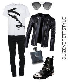 """Rockstar Vibes"" by lizeverettstyle on Polyvore featuring Marcelo Burlon, Kenzo, Alexander McQueen, Dolce&Gabbana, Chanel, men's fashion and menswear"