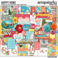 Happy Home  Team Collab:Mega kits and Templates. Available at Scrap Stacks Shop at 40% off or you can get it for FREE With a $15purchase in the shop!