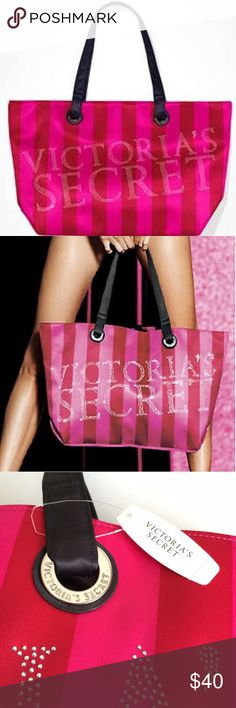 "Victoria's Secret Black Friday Bling Tote Victoria's Secret Limited Edition Black Friday bling tote. Red and pink striped satin with black satin handles/straps. Silver studs spell out Victoria's Secret. 13""h x21""l. New With Tags! Victoria's Secret Bags Totes"