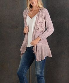 Another great find on #zulily! Pink Lace-Accent Open Cardigan #zulilyfinds