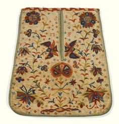 Crewel embroidered linen pocket Pennsylvania, 1740-1770. I keep waiting for crewel to make a come-back.  I mean, look at this.  How pretty!