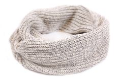 This infinity circle scarf is knit out of 100% cotton yarn in natural and gray colors and features a brown...