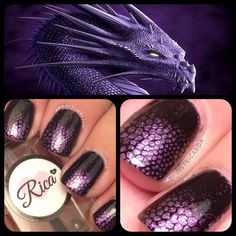 purple dragon nails / Halloween nails / Rica / www.justricarda.com