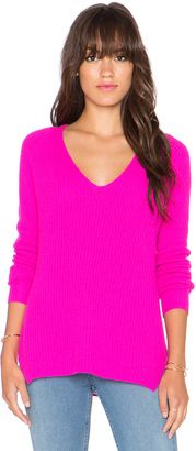 Autumn Cashmere Shaker Stitch V Neck Sweater - Shop for women's Sweater - Barbie_WK445 Sweater