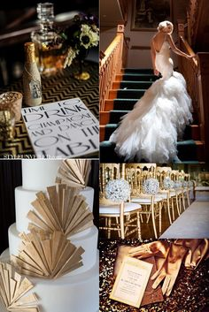 Wedding Board Golden Chairs Whiskey Dress With Feathers The Elements For A Great Gatsby Party