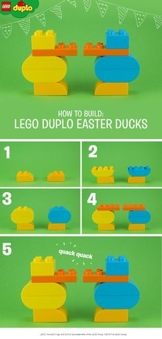 Quack-quack! Building our cute little ducks makes for a fun Easter play activity – and they make great decorations too! All you need for this activity are some colorful LEGO DUPLO bricks - you might have just the right ones in the toy box. Building with bricks is not only great fun, but helps toddlers to develop their fine motor skills. Click to see more awesome LEGO DUPLO sets.